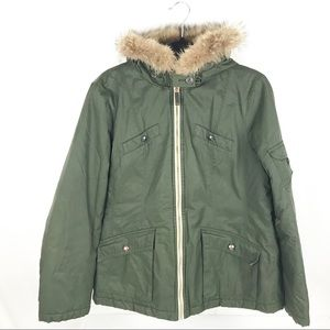 Tommy Hilfiger Army Green Coat w/Faux Fur Hood